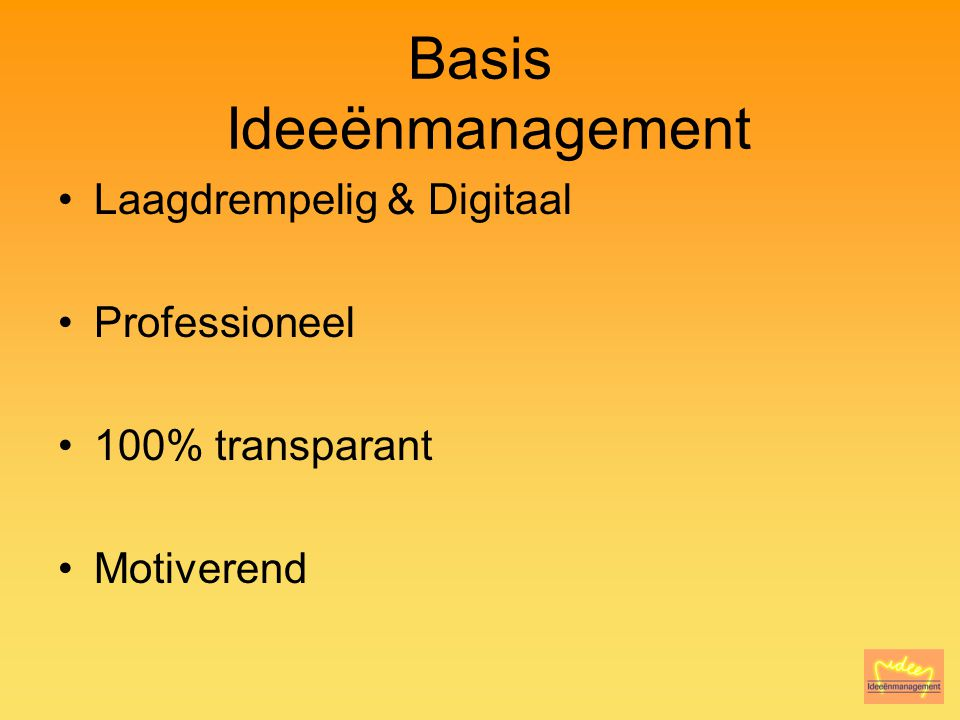 Basis Ideeënmanagement