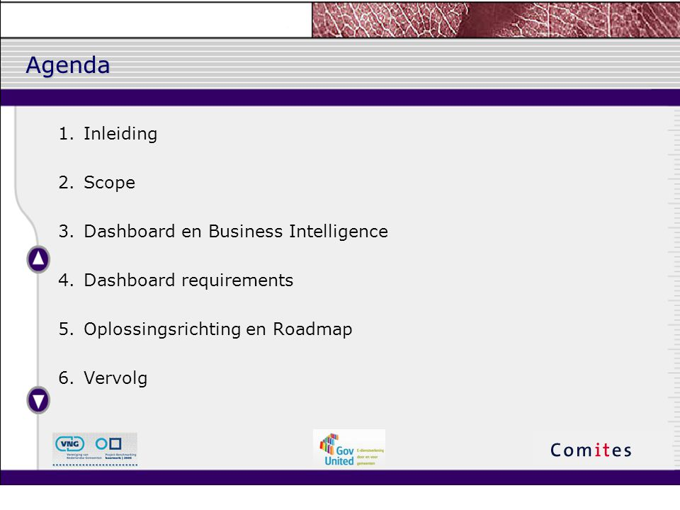 Agenda Inleiding Scope Dashboard en Business Intelligence