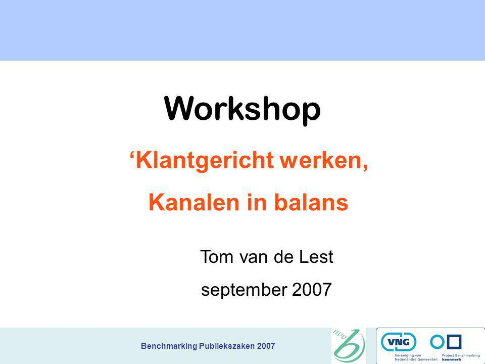 Workshop 'Klantgericht werken, Kanalen in balans Tom van de Lest