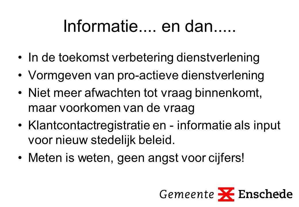 Informatie.... en dan..... In de toekomst verbetering dienstverlening