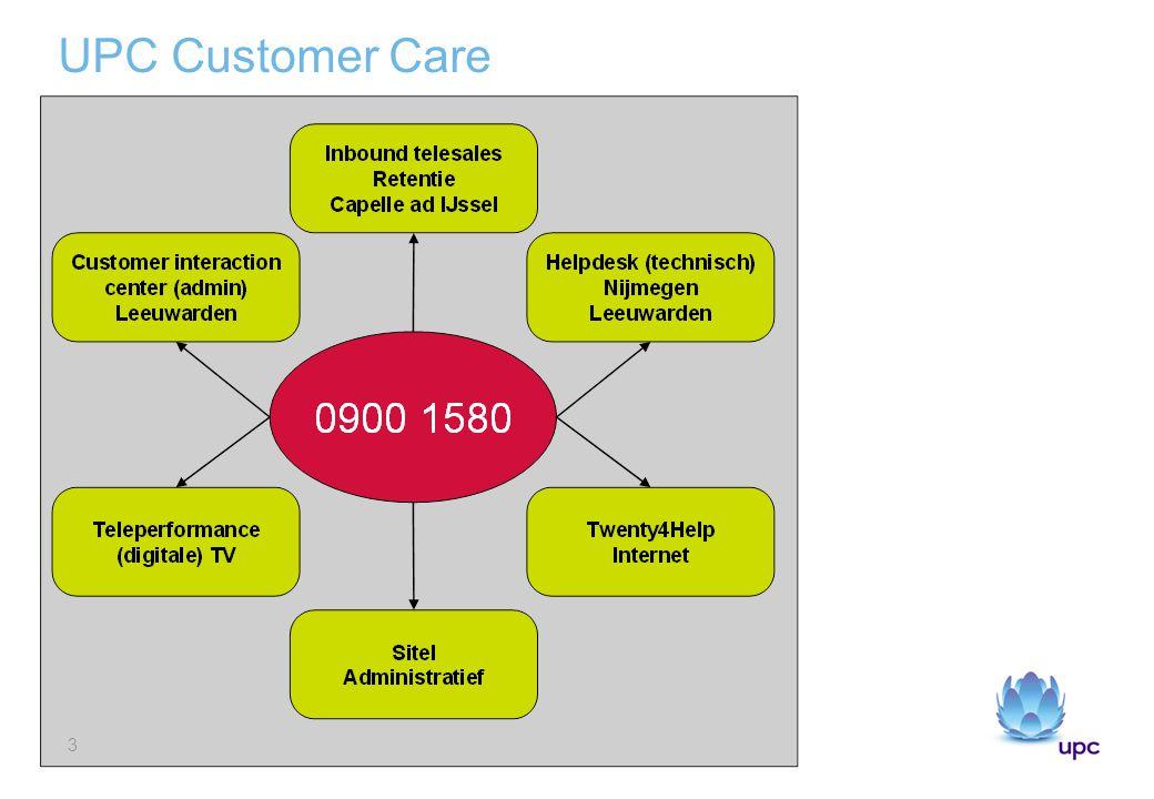 UPC Customer Care 4.5 Miljoen telefoontjes 0.8 miljoen emails