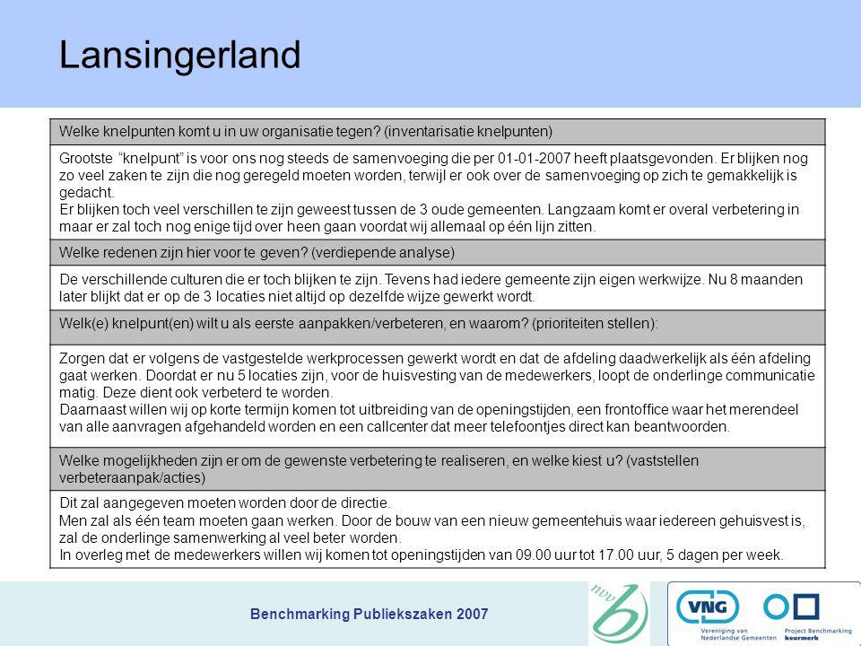 Lansingerland Welke knelpunten komt u in uw organisatie tegen (inventarisatie knelpunten)
