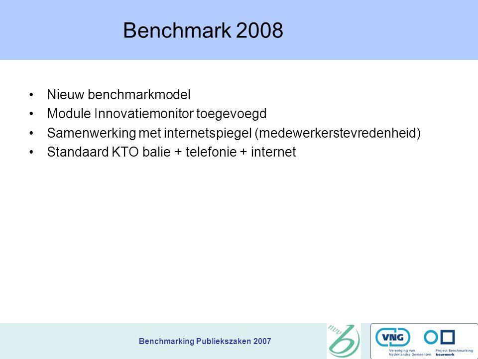 Benchmark 2008 Nieuw benchmarkmodel Module Innovatiemonitor toegevoegd