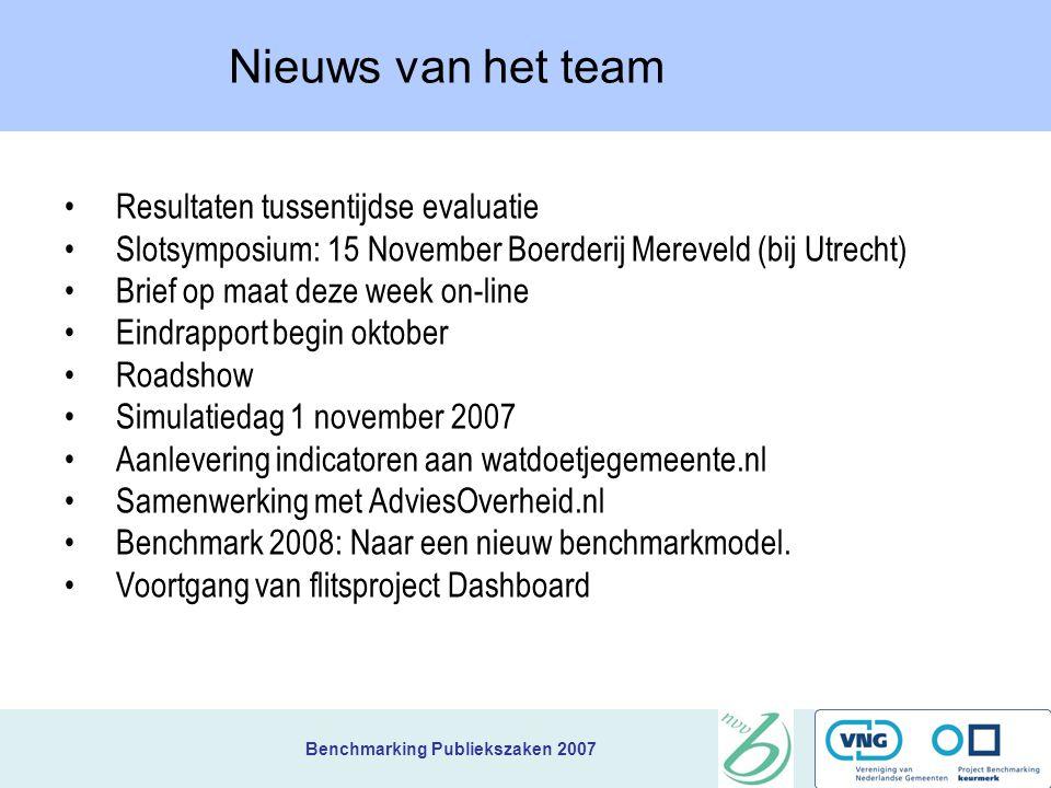 Nieuws van het team Resultaten tussentijdse evaluatie