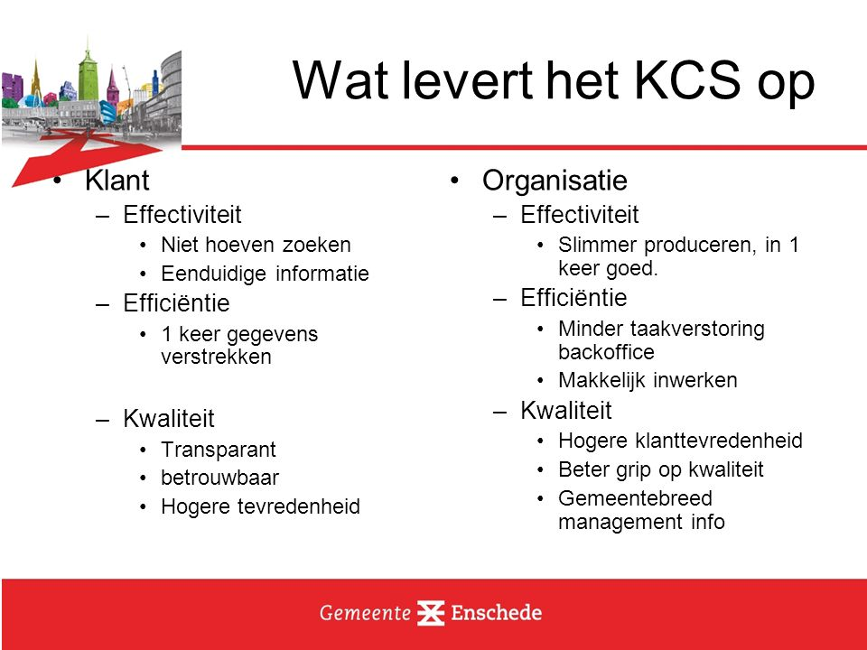 Wat levert het KCS op Klant Organisatie Effectiviteit Efficiëntie