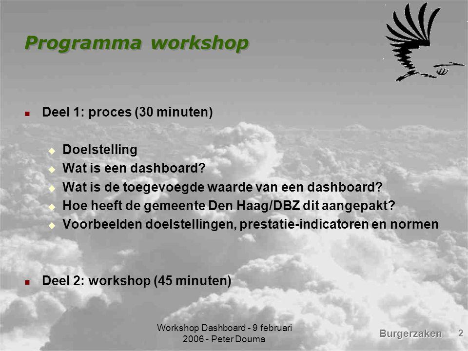 Workshop Dashboard - 9 februari 2006 - Peter Douma