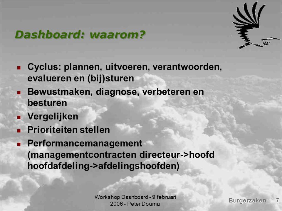 Workshop Dashboard - 9 februari 2006 - Peter Douma