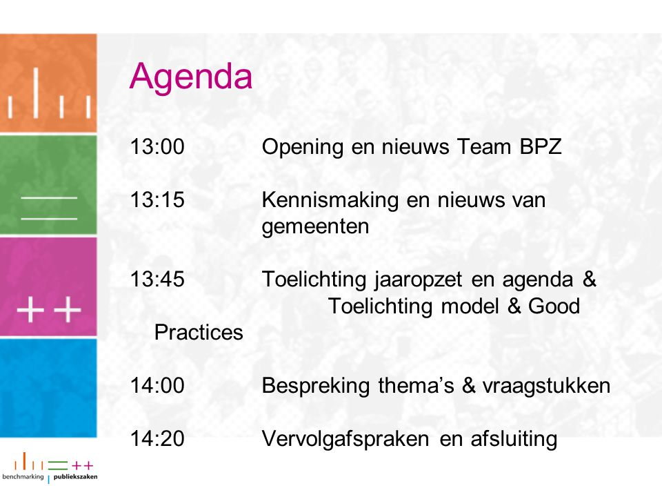 Agenda 13:00 Opening en nieuws Team BPZ