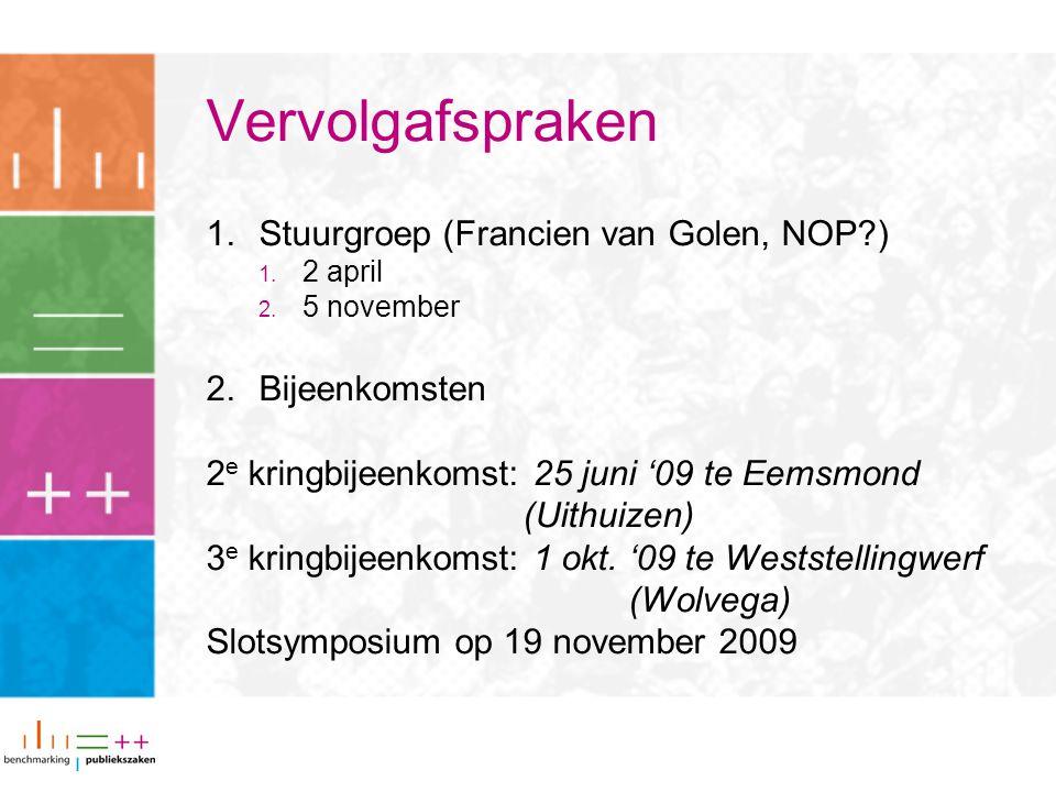 Vervolgafspraken Stuurgroep (Francien van Golen, NOP ) Bijeenkomsten