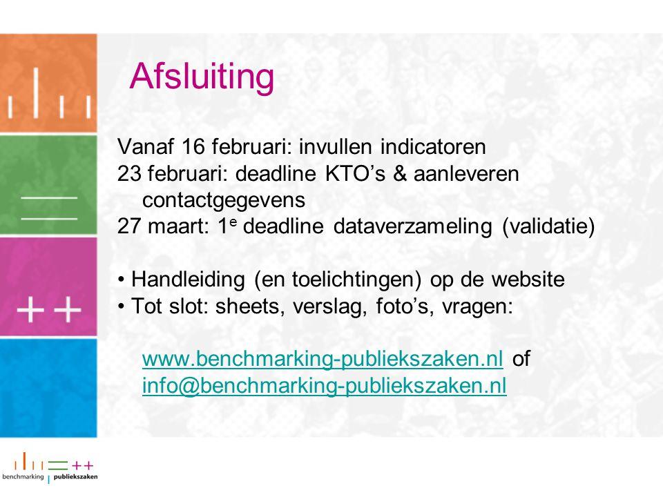 Afsluiting Vanaf 16 februari: invullen indicatoren