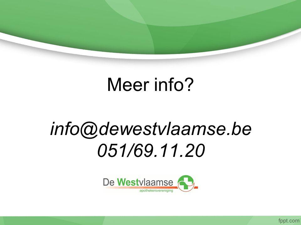 Meer info info@dewestvlaamse.be 051/69.11.20