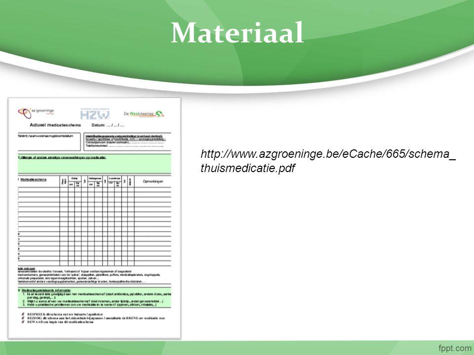 Materiaal http://www.azgroeninge.be/eCache/665/schema_thuismedicatie.pdf