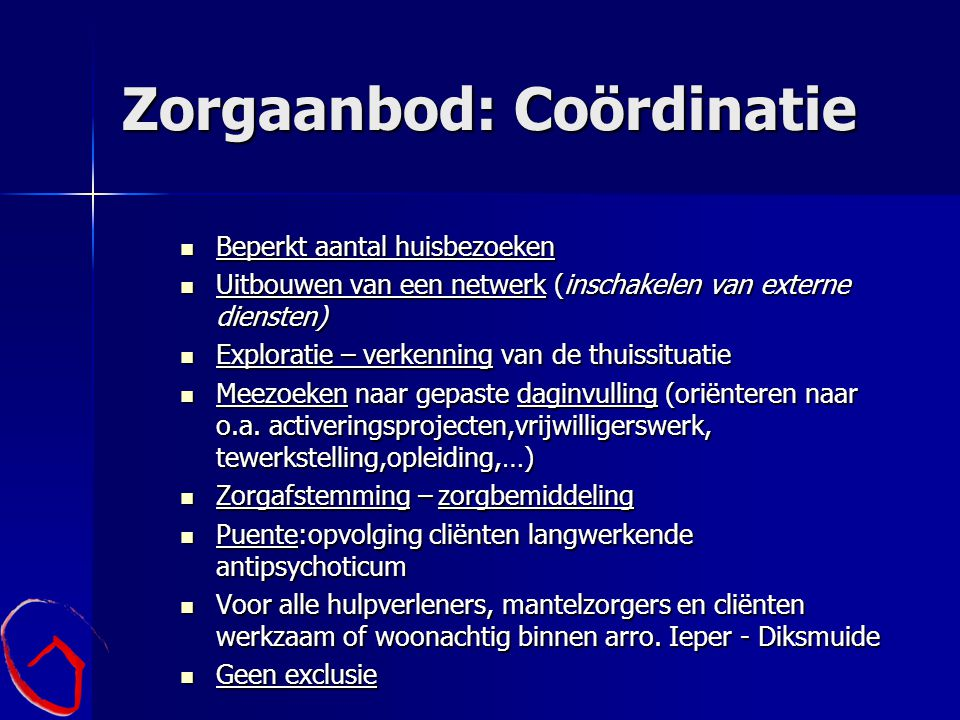 Zorgaanbod: Coördinatie
