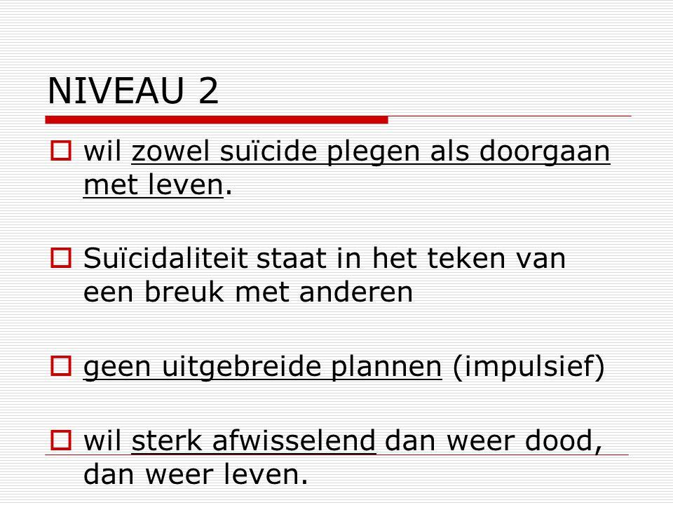 NIVEAU 2 wil zowel suïcide plegen als doorgaan met leven.