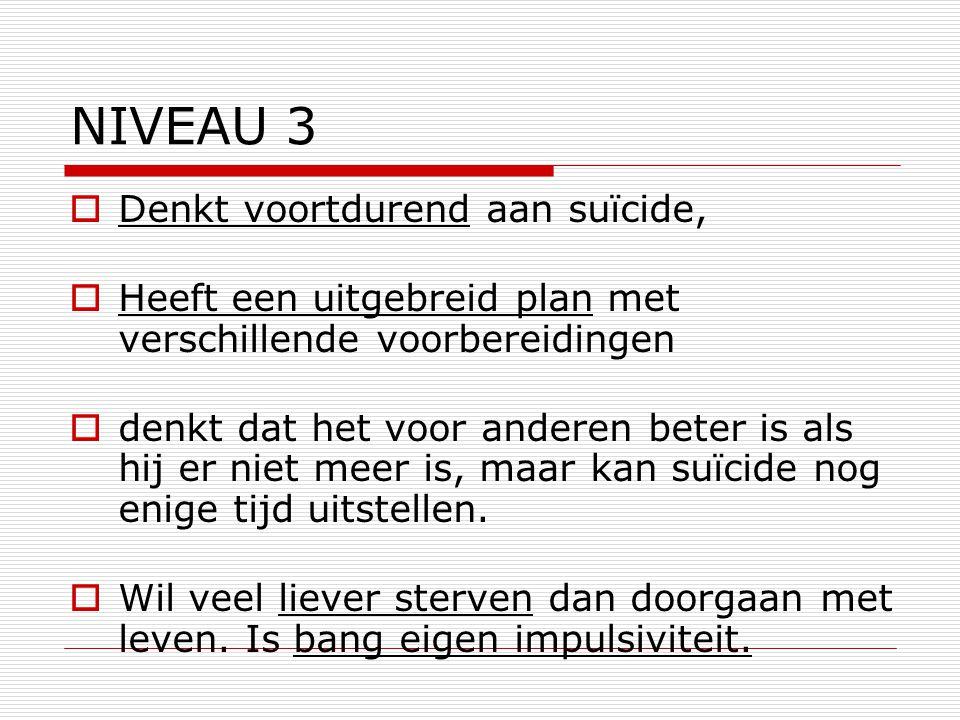 NIVEAU 3 Denkt voortdurend aan suïcide,
