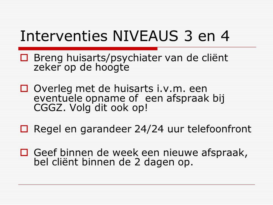 Interventies NIVEAUS 3 en 4