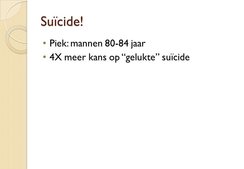 Suïcide! Piek: mannen 80-84 jaar 4X meer kans op gelukte suïcide