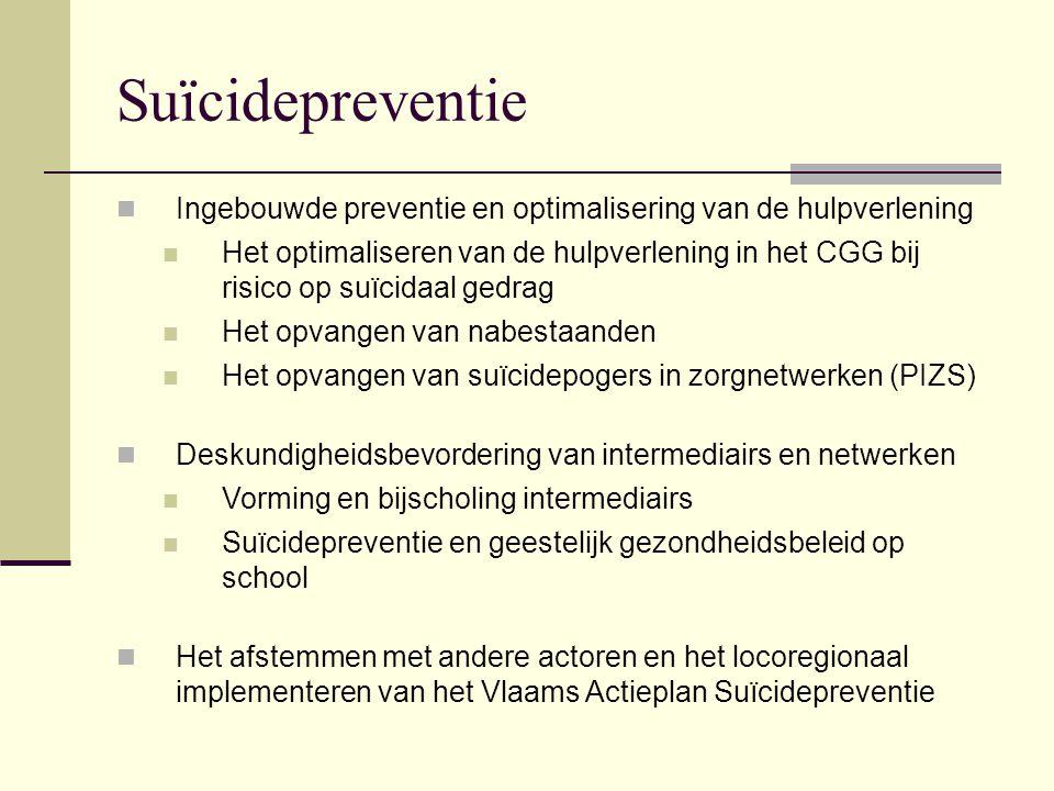 Suïcidepreventie Ingebouwde preventie en optimalisering van de hulpverlening.