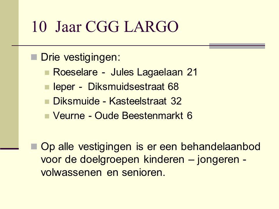 10 Jaar CGG LARGO Drie vestigingen: