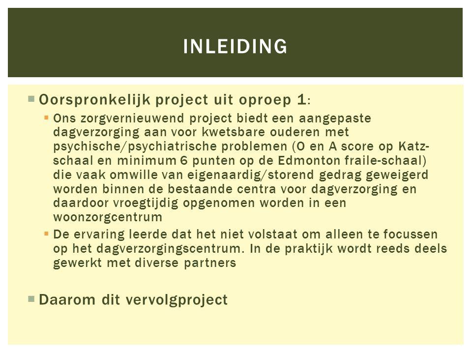 inleiding Oorspronkelijk project uit oproep 1: