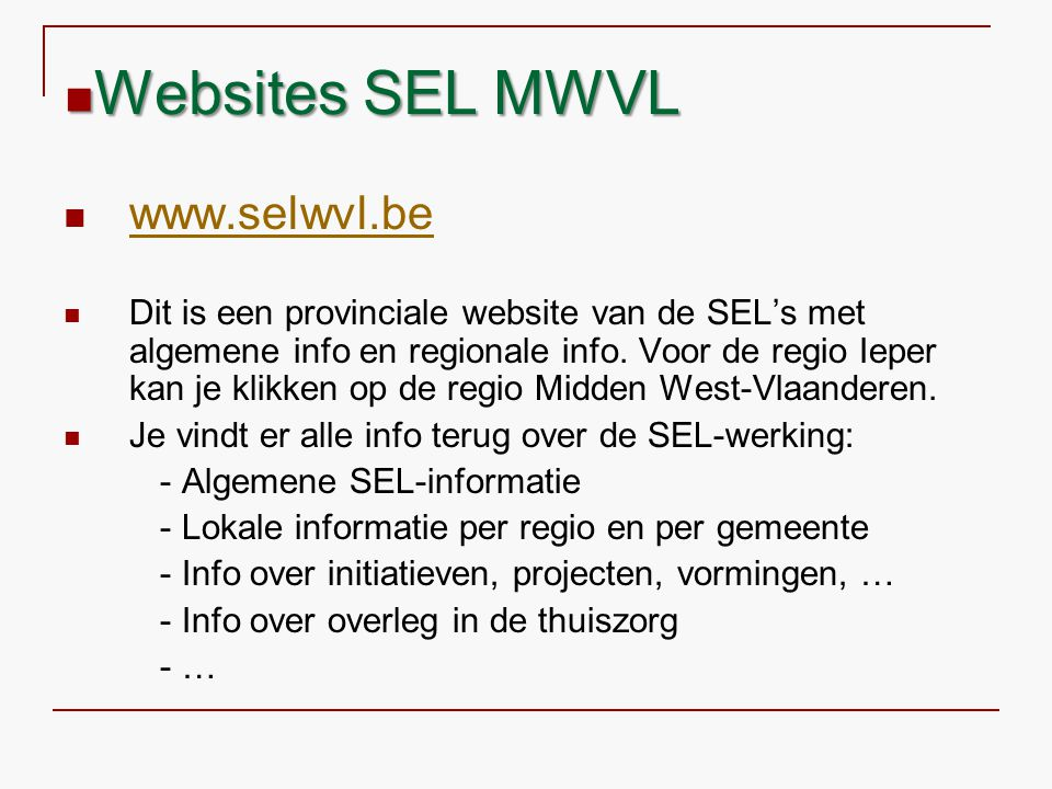 Websites SEL MWVL www.selwvl.be
