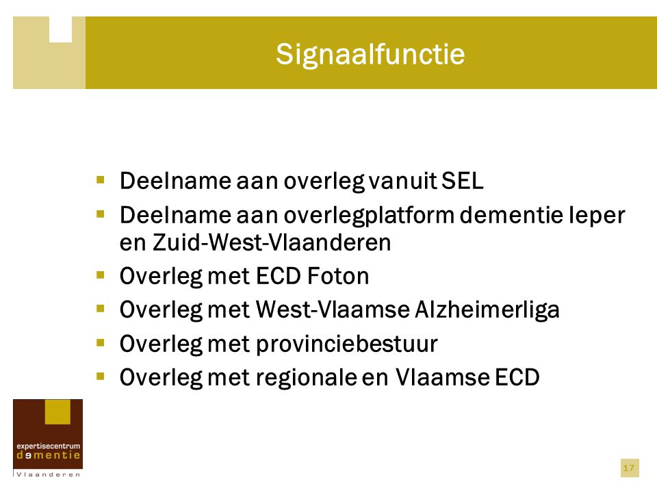 Signaalfunctie Deelname aan overleg vanuit SEL