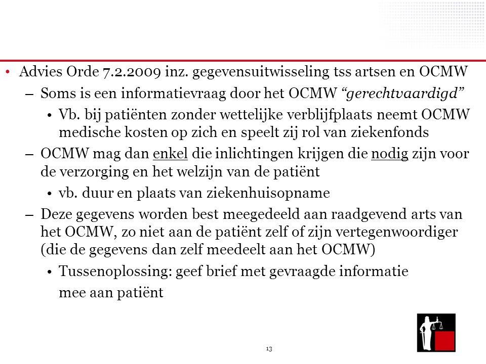 Advies Orde 7.2.2009 inz. gegevensuitwisseling tss artsen en OCMW
