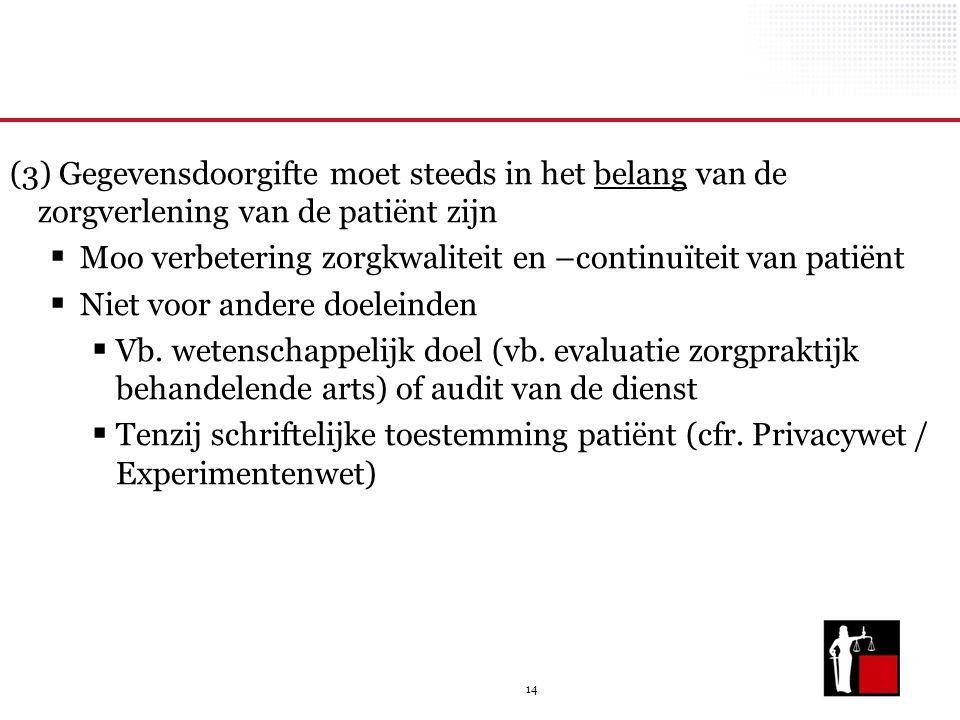 (3) Gegevensdoorgifte moet steeds in het belang van de zorgverlening van de patiënt zijn