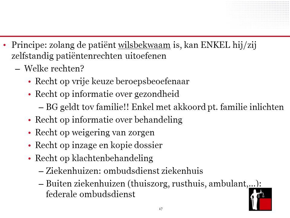 Principe: zolang de patiënt wilsbekwaam is, kan ENKEL hij/zij zelfstandig patiëntenrechten uitoefenen
