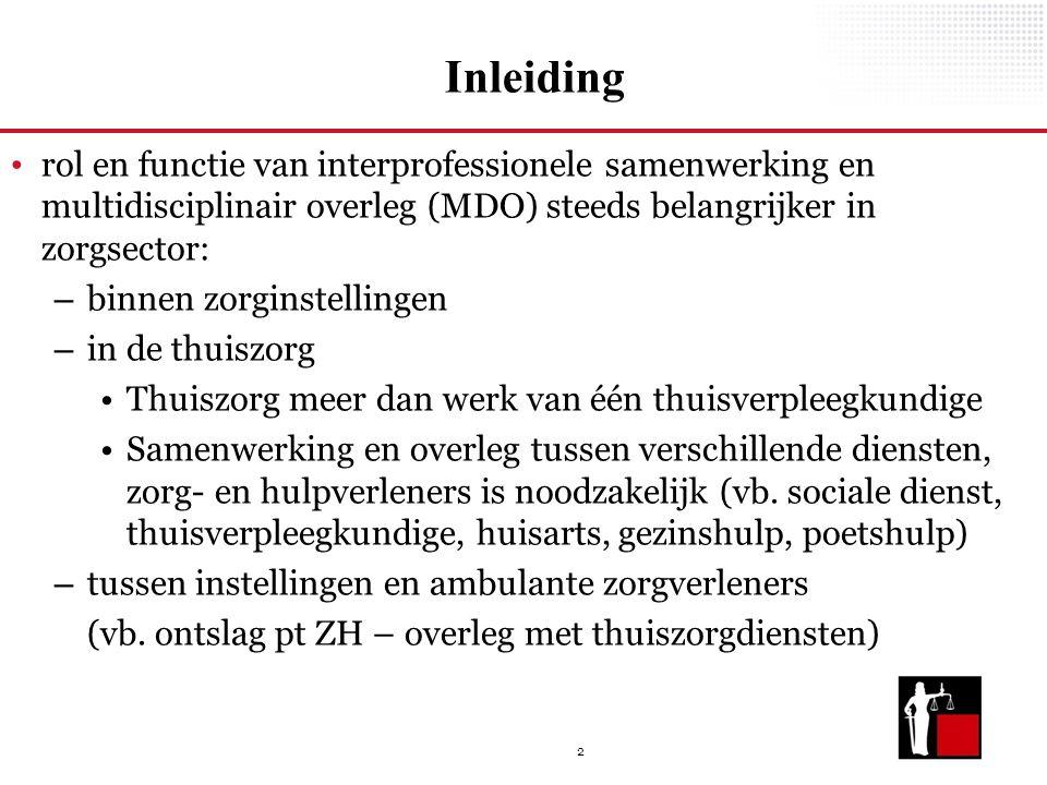 Inleiding rol en functie van interprofessionele samenwerking en multidisciplinair overleg (MDO) steeds belangrijker in zorgsector: