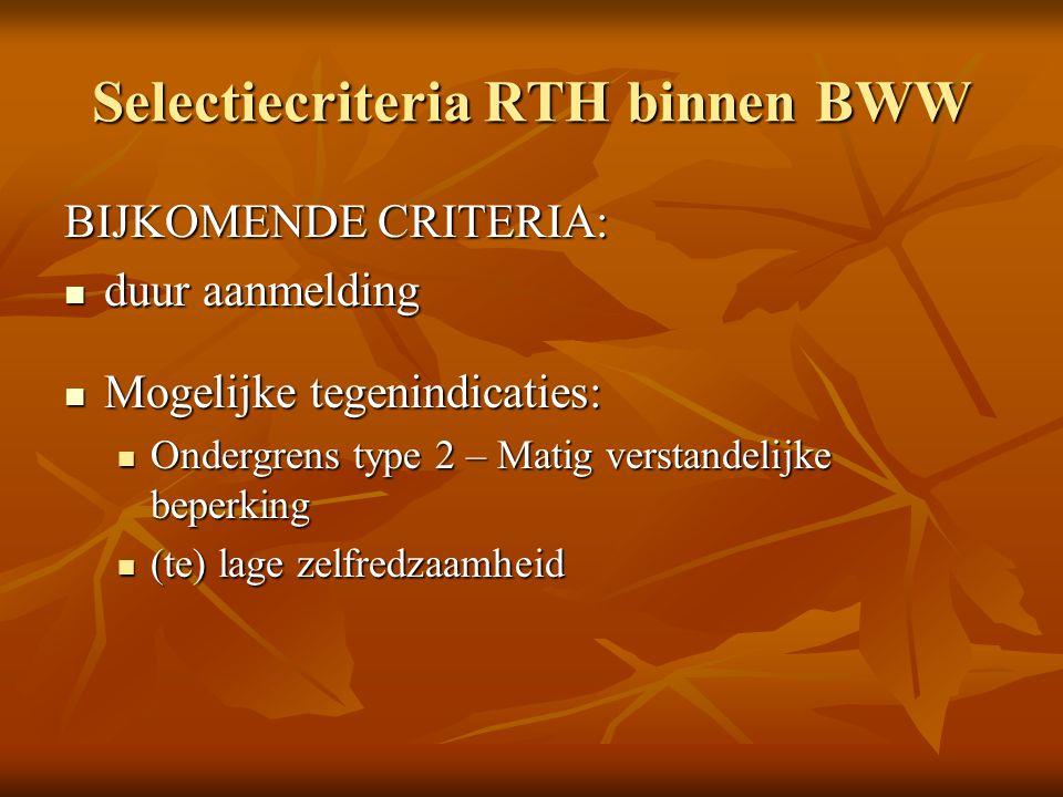 Selectiecriteria RTH binnen BWW