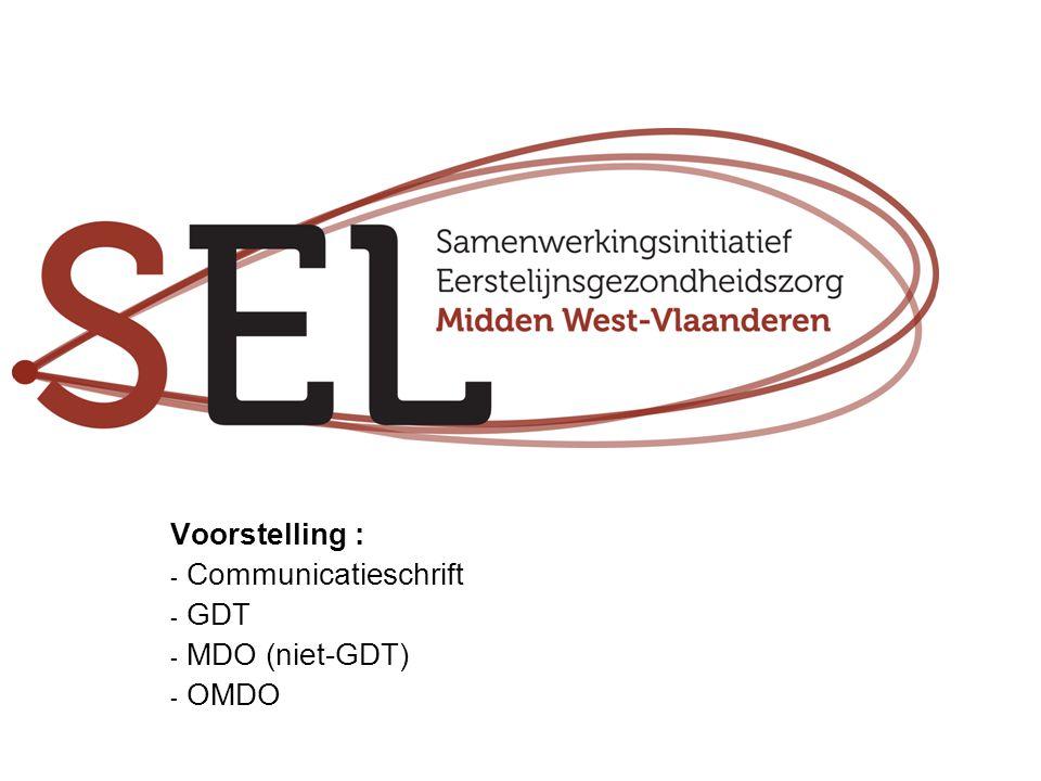 Voorstelling : Communicatieschrift GDT MDO (niet-GDT) OMDO
