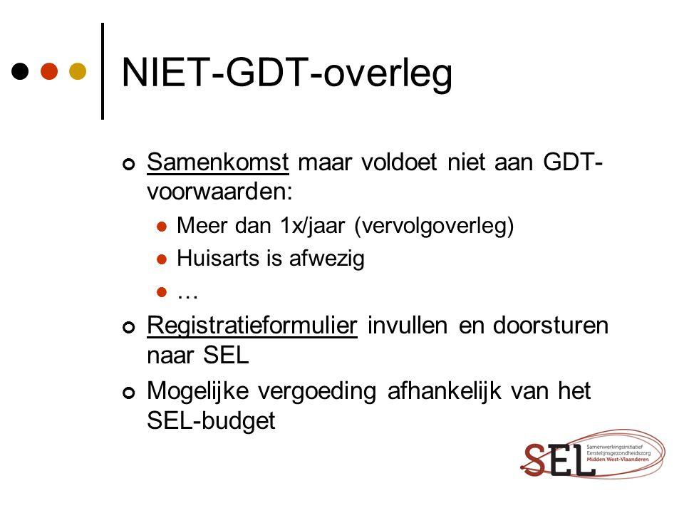 NIET-GDT-overleg Samenkomst maar voldoet niet aan GDT-voorwaarden: