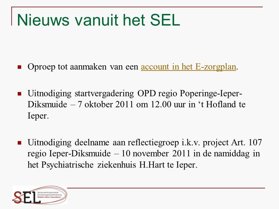 Nieuws vanuit het SEL Oproep tot aanmaken van een account in het E-zorgplan.