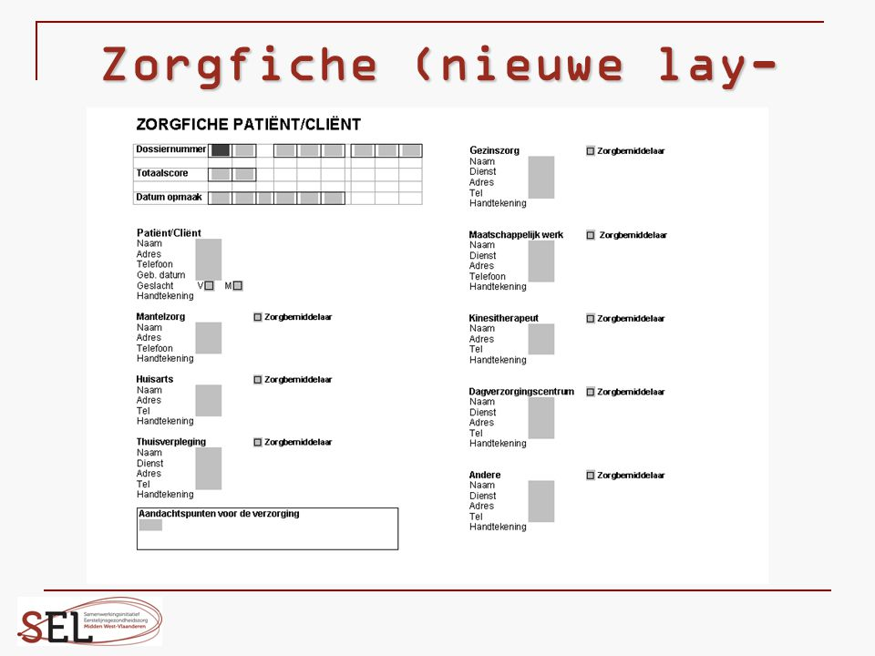 Zorgfiche (nieuwe lay-out)