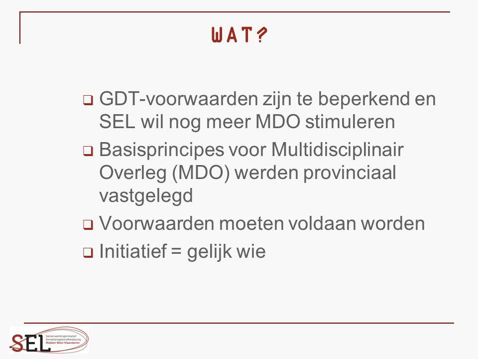 WAT GDT-voorwaarden zijn te beperkend en SEL wil nog meer MDO stimuleren.