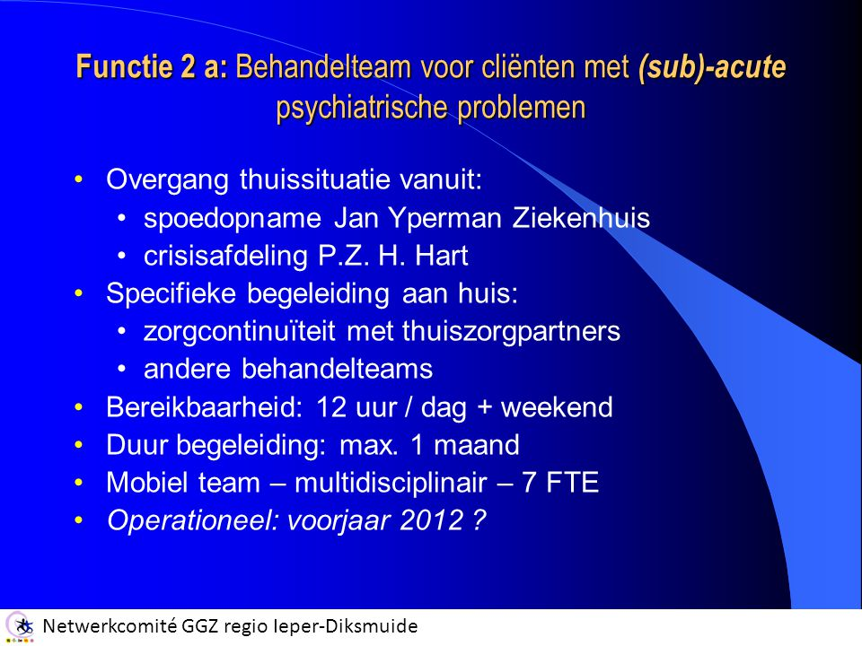 Functie 2 a: Behandelteam voor cliënten met (sub)-acute psychiatrische problemen