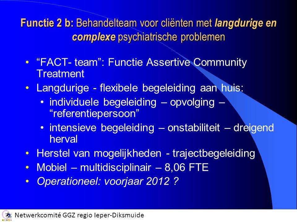 Functie 2 b: Behandelteam voor cliënten met langdurige en complexe psychiatrische problemen