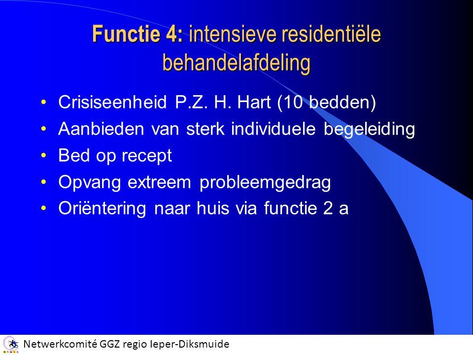 Functie 4: intensieve residentiële behandelafdeling