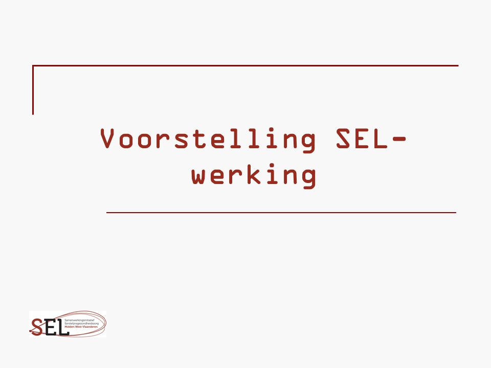 Voorstelling SEL-werking