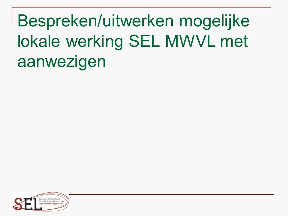 Bespreken/uitwerken mogelijke lokale werking SEL MWVL met aanwezigen