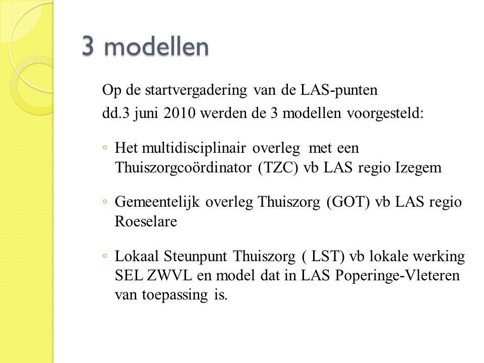 3 modellen Op de startvergadering van de LAS-punten