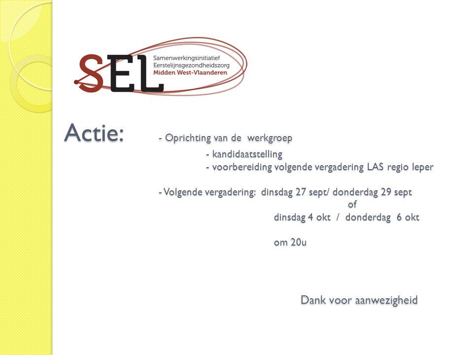 Actie:. - Oprichting van de werkgroep. - kandidaatstelling