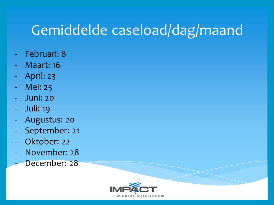 Gemiddelde caseload/dag/maand