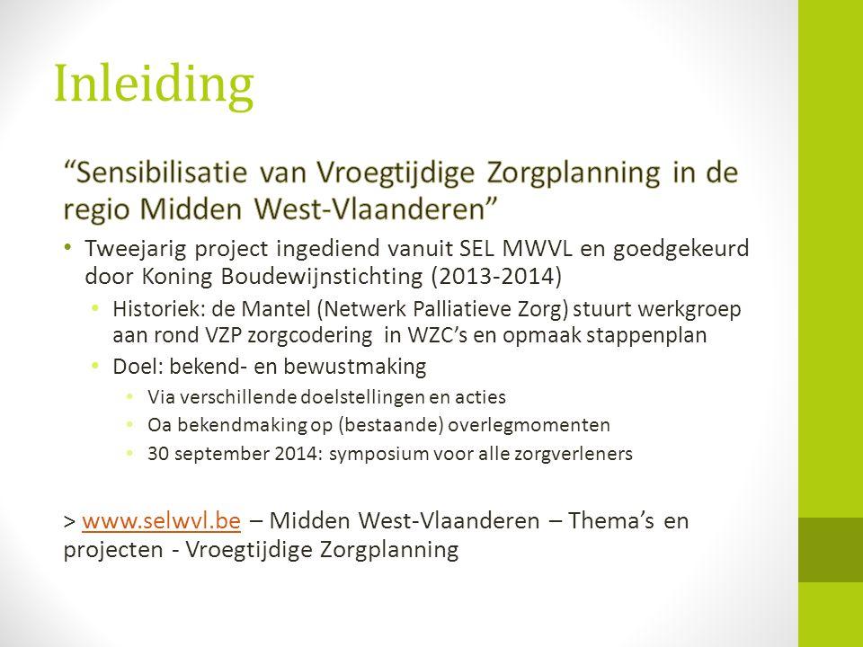 Inleiding Sensibilisatie van Vroegtijdige Zorgplanning in de regio Midden West-Vlaanderen