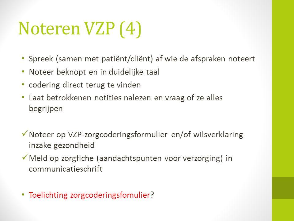 Noteren VZP (4) Spreek (samen met patiënt/cliënt) af wie de afspraken noteert. Noteer beknopt en in duidelijke taal.