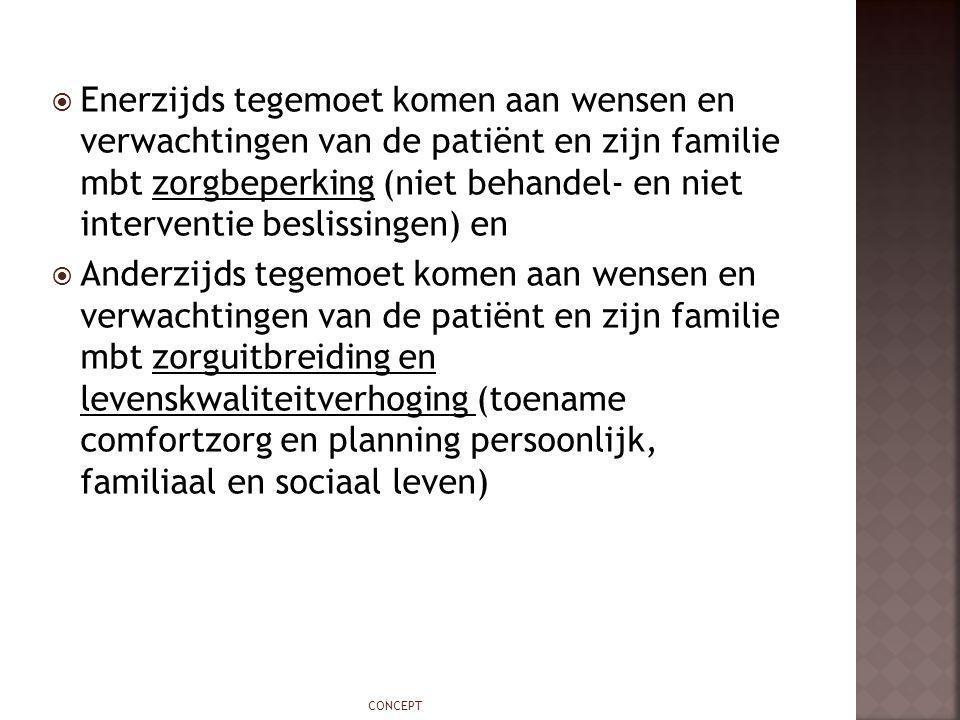 Enerzijds tegemoet komen aan wensen en verwachtingen van de patiënt en zijn familie mbt zorgbeperking (niet behandel- en niet interventie beslissingen) en