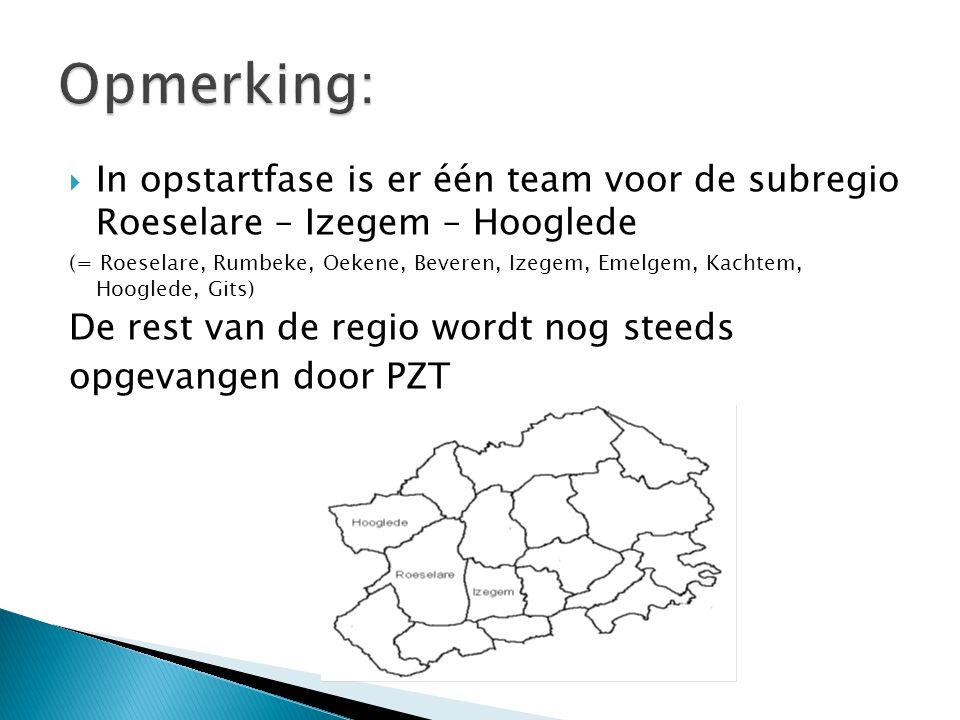Opmerking: In opstartfase is er één team voor de subregio Roeselare – Izegem – Hooglede.