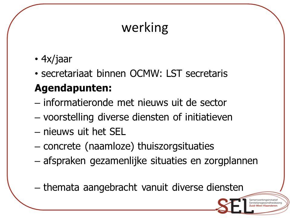 werking 4x/jaar secretariaat binnen OCMW: LST secretaris Agendapunten:
