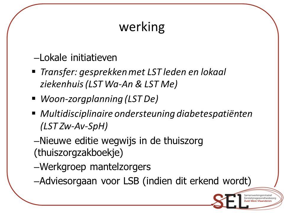 werking Lokale initiatieven. Transfer: gesprekken met LST leden en lokaal ziekenhuis (LST Wa-An & LST Me)